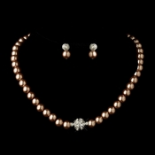 Silver Dusty Rose Glass Pearl Pave Ball Necklace & Earrings Bridal Jewelry Set 720