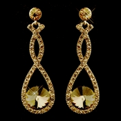 Gold with Light Topaz Crystals Double Loop Dangling  Antique Earrings 8706