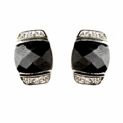 Silver Black Post Earrings 6504