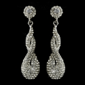 Antique Silver Clear Rhinestone & Crystal Dangle Bridal Earrings 8682