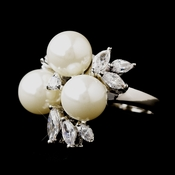 Stunning Silver Freshwater Pearl  CZ Ring 5880