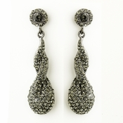 Antique Silver Smoked Rhinestone & Crystal Dangle Bridal Earrings 8682