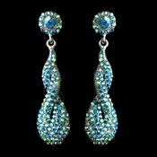 Antique Silver Turquoise AB Rhinestone & Crystal Dangle Bridal Earrings 8682