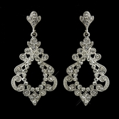 Antique Silver Clear Rhinestone Chandelier Bridal Earrings 8688