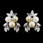 Pearl and CZ Stud Earrings 8718