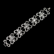 Antique Silver Rhodium Clear Rhinestone Floral Butterfly Bracelet 9086