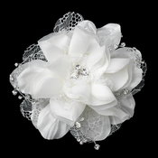 Crystal & Rhinestone Accent Flower Hair Clip 9662