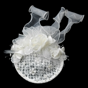 Elaborate Ivory Flower Russian Tulle Pearl Bridal Hair Cap Clip 9672