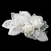 Silver Ivory Pearl & Rhinestone Accent Hair Comb 9648