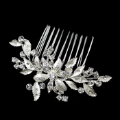 Silver Flower Leaf Garden Bridal Hair Comb Dazzled in Rhinestones 9653