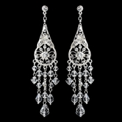 Silver Clear Crystal & Rhinestone Chandelier Earrings 9681