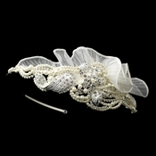 Exquisite Side Accented Rhinestone, Pearl & Ivory Tulle Headband 9609