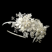 Diamond White Sparkle Flower Bridal Side Accented Headband 9610