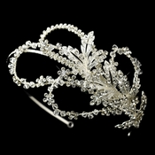 Extravagant Side Accented Rhinestone Leaf & Flower Petal Headband in Silver 9615