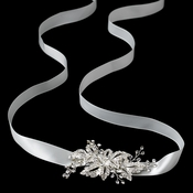 Ivory Ribbon Bridal Headband with Rhinestone Pave Flower Side Accent / Bridal Belt 9667
