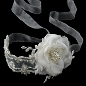 Elegant  Light Ivory Ribbon Flower Headband or Bridal Belt Accessory 9668