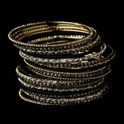 Gold Black Bangle Bracelet 8859