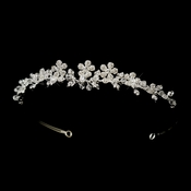 * Silver Clear Floral Swarovski Crystal & Rhinestone Bridal Side Accented Headpiece 5029