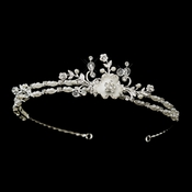 * Silver White Pearl, Clear Swarovski Crystal & Rhinestone Bridal Headpiece 5050***Discontinued***