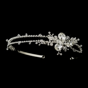 * Silver Clear Swarovski Crystal & Rhinestone Double Side Accented Bridal Headband Headpiece 5077