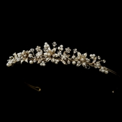 * Gold Ivory Pearl Starfish Bridal Tiara Headpiece 7762