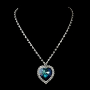 Silver Blue Crystal Titanic Inspired Heart Necklace 71245