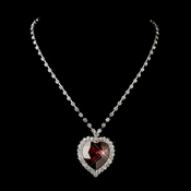 Silver Red Crystal Heart Necklace 71245