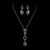 Silver Smoked Crystal Necklace & Dangle Earrings Bridal Jewelry Set 8739