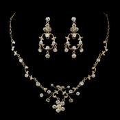 Gold Clear Rhinestone Floral Vine Necklace & Chandelier Earrings Bridal Jewelry Set 8215