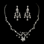 Silver Clear Rhinestone Floral Vine Necklace & Chandelier Earrings Bridal Jewelry Set 8215