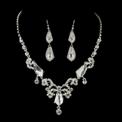 Silver Clear Rhinestone Floral Vine Necklace & Earrings Bridal Jewelry Set 8216