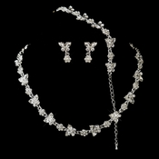 Silver Clear Rhinestone Necklace, Earrings, Bracelet 3 Piece Bridal Butterfly Jewelry Set NE 2876 & B 2876***Discontinued***