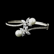 Silver White Pearl & Marquise CZ Crystal Bridal Bangle Bracelet 2546