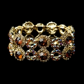 Gold Brown & Clear Crystal Bridal Stretch Bracelet 8658