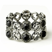 Hematite Black Crystal Bridal Stretch Bracelet 8658