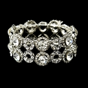 Silver Clear Crystal Bridal Stretch Bracelet 8658