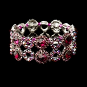 Silver Pink & AB Crystal Bridal Stretch Bracelet 8658