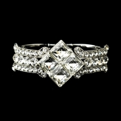 Silver Clear Crystal Bridal Clasp Bracelet 8660