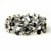 Hematite Black Crystal Bridal Stretch Bracelet 8661
