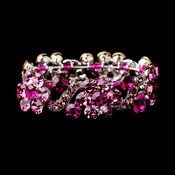 Silver Pink Crystal Bridal Stretch Bracelet 8661