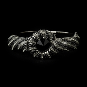 Hematite Black Crystal Bridal Beach Seashell Bangle Bracelet 8662