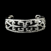 Antique Silver Clear CZ Bridal Bangle Bracelet 8668