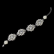 Antique Rhodium Silver Clear Rhinestone & Freshwater Pearl Accent Bracelet 9882***Discontinued***