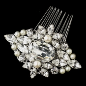 Antique Rhodium Silver Clear Rhinestone & Freshwater Pearl Comb 9883