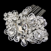 Antique Silver Clear Rhinestone Floral Swirl Comb 9880