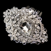 Antique Rhodium Silver Rhinestone Comb 9886