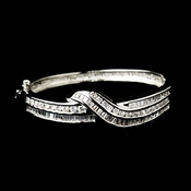 Silver Clear CZ Crystal Bridal Bangle Bracelet 8669