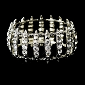 Antique Silver Clear Crystal Bridal Stretch Cuff Bracelet 8690