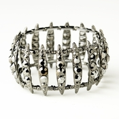 Hematite Smoked Crystal Bridal Stretch Cuff Bracelet 8690