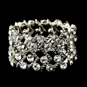 Silver Clear Crystal Stretch Cuff Bridal Bracelet 8691